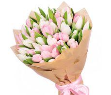 Букет из 35 бело-розовых тюльпанов