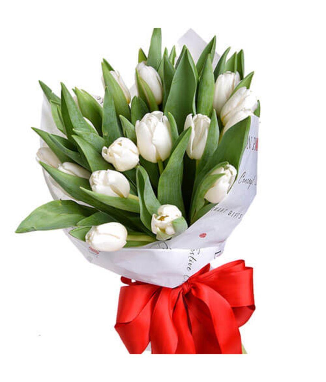 Букет з 15 білих тюльпанів. Superflowers.com.ua