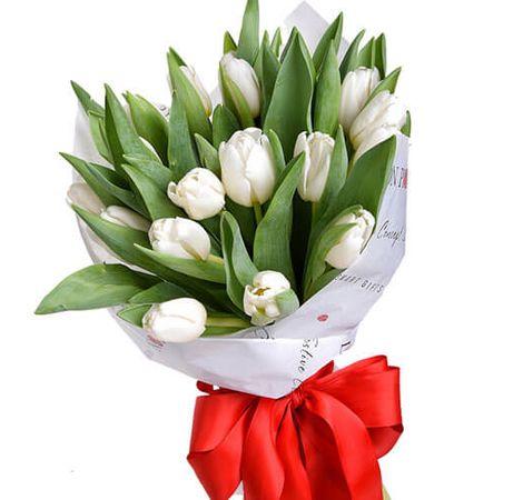 Букет из 15 белых тюльпанов. Superflowers.com.ua