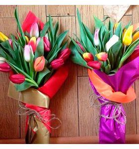 """Букет из 15 тюльпанов микс """"8 марта на пороге"""""""