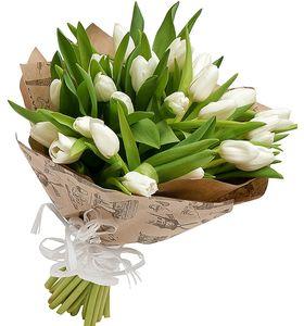 """Букет з 25 білих тюльпанів """"Сніжана"""""""