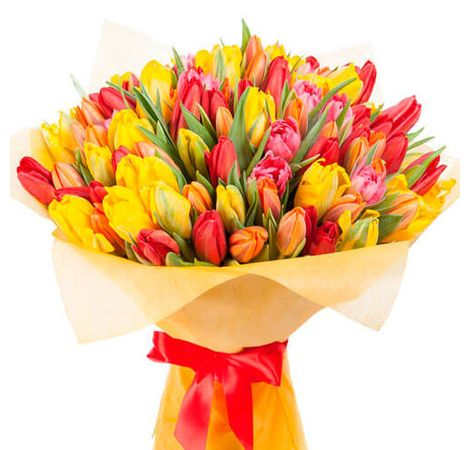 "Букет из 51 тюльпана ""Краски весны"". Superflowers.com.ua"