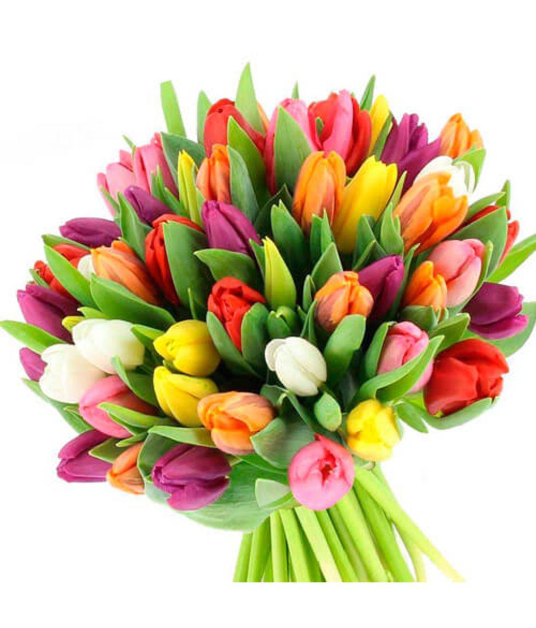 "Букет из 51 тюльпана ""Радуга"". Superflowers.com.ua"