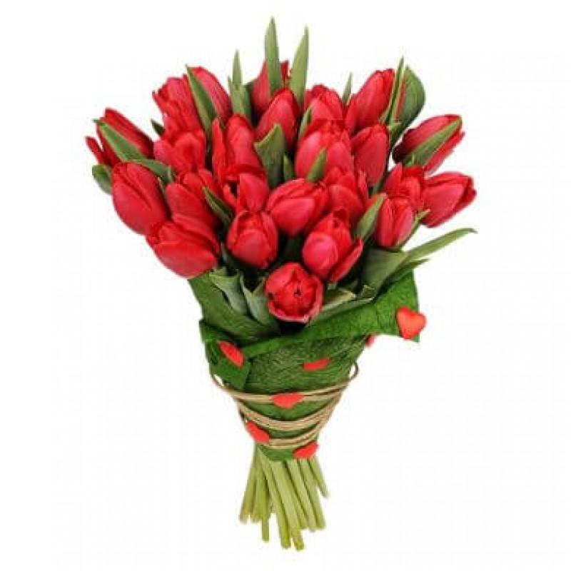 """Букет из 29 красных тюльпанов """"Романтика"""""""