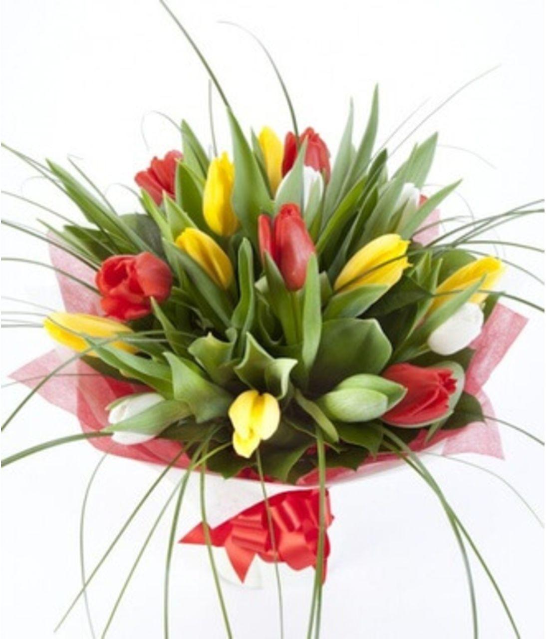 """Букет тюльпанов """"Лучики любви"""". Superflowers.com.ua"""