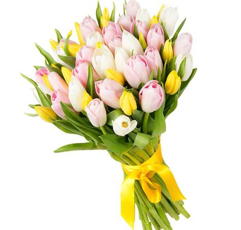 """Букет из 29 тюльпанов микс """"Красотке"""". Superflowers.com.ua"""