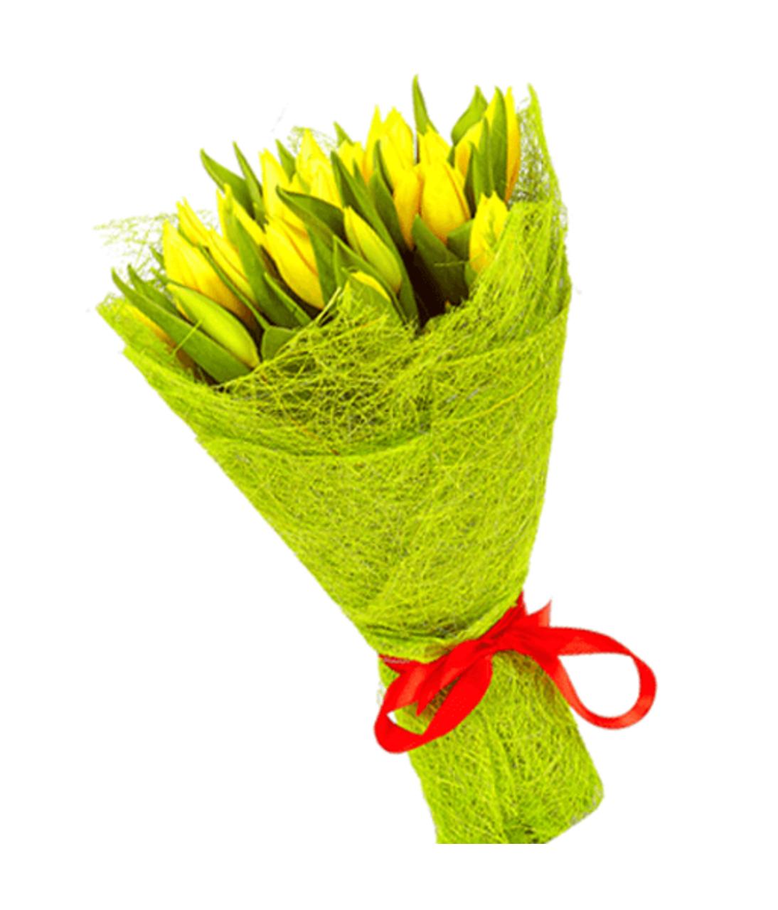 """Букет из 25 желтых тюльпанов """"Хорошее настроение"""". Superflowers.com.ua"""