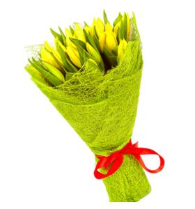 """Букет из 25 желтых тюльпанов """"Хорошее настроение"""""""