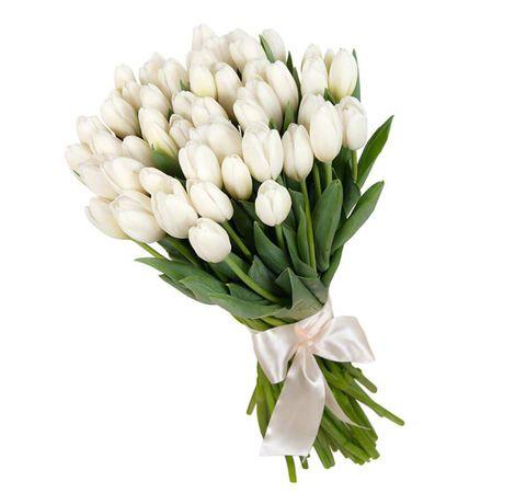 """Букет белых тюльпанов """"Рассвет в Киеве"""". superflowers.com.ua"""