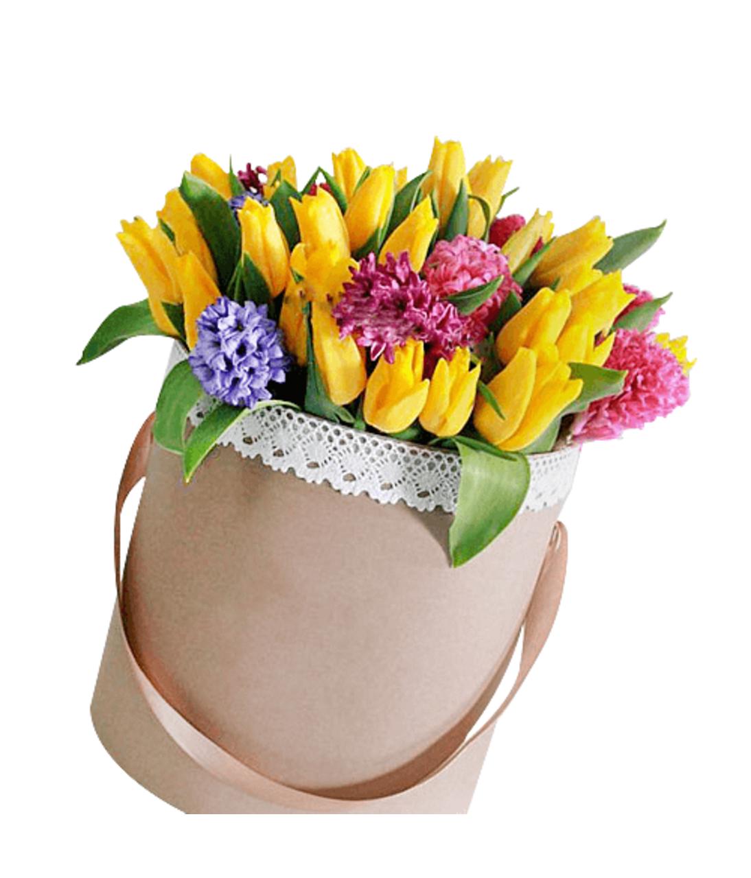 Тюльпани і гіацинти в шляпной коробці. Superflowers.com.ua