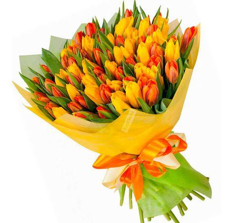 "51 тюльпанов микс ""Весеннее солнце"". Superflowers.com.ua"