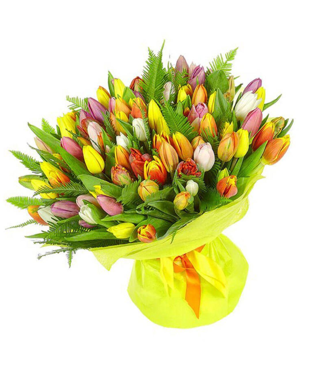 """101 тюльпан микс """"Весна пришла"""". Superflowers.com.ua"""