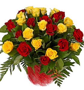 """25 троянд """"Червоне і жовте"""""""