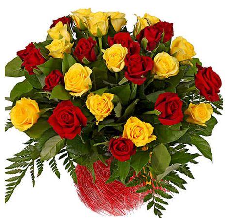"25 роз ""Красное и желтое"". Superflowers.com.ua"