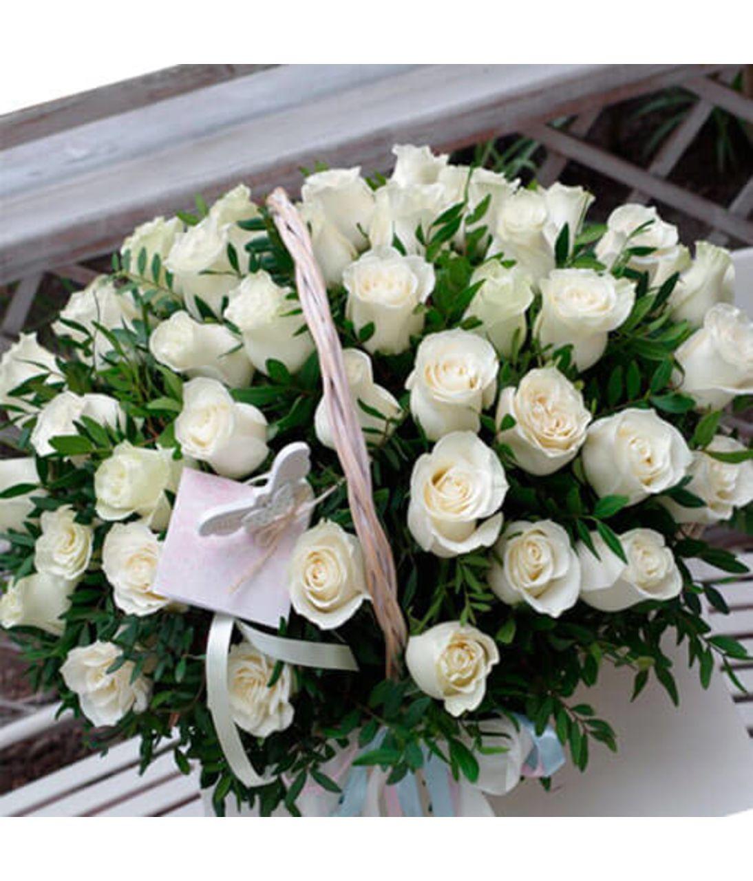 51 роза в корзине. Superflowers.com.ua
