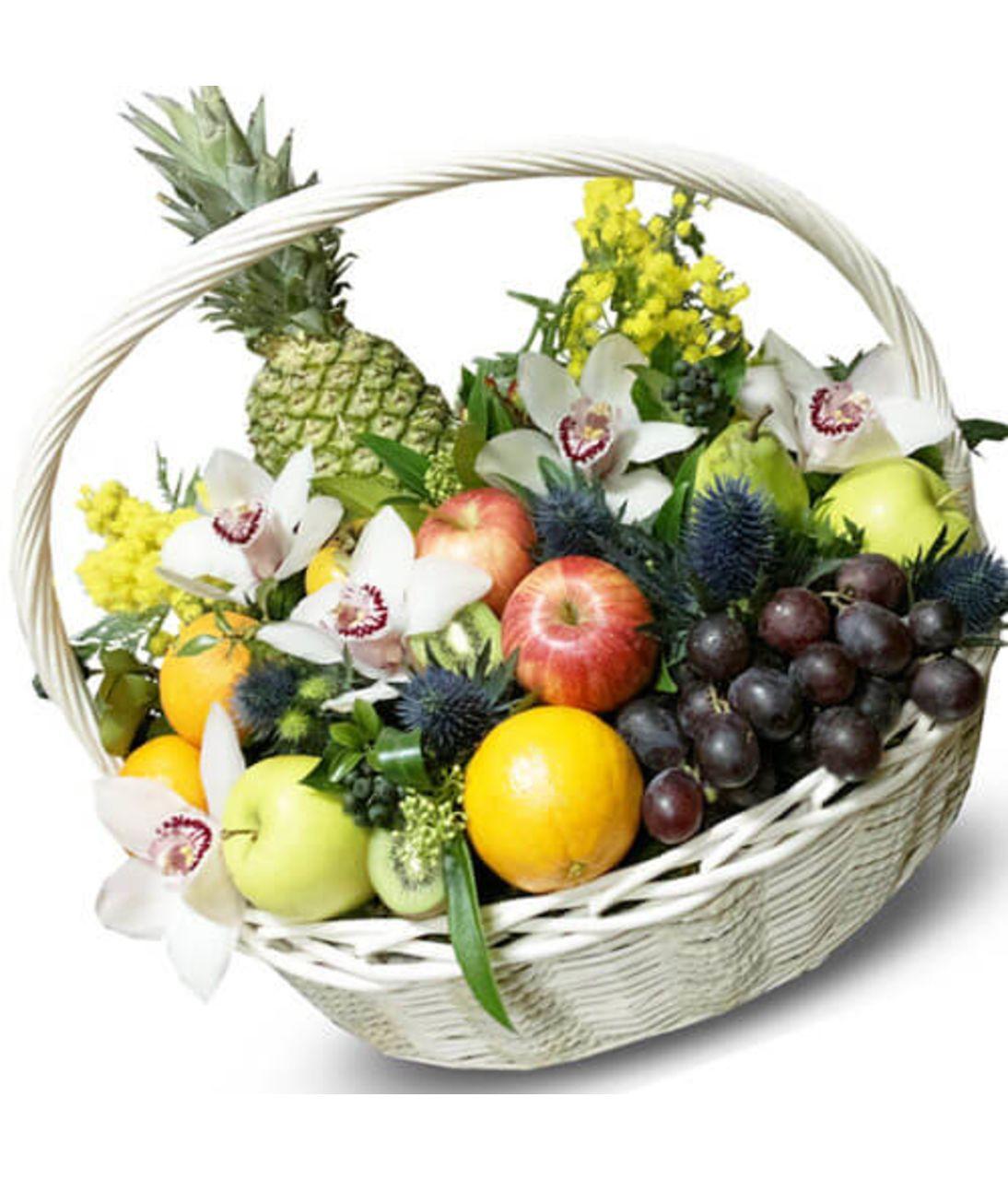 Велика корзина з квітами і фруктами. Superflowers.com.ua