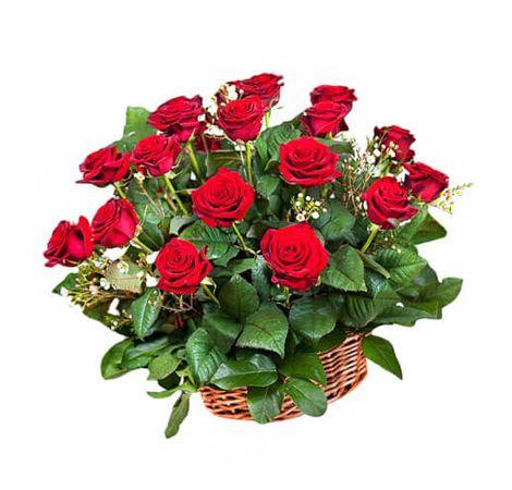 Букет из 17 роз в корзине. Superflowers.com.ua. Купить букет в корзине в Киеве
