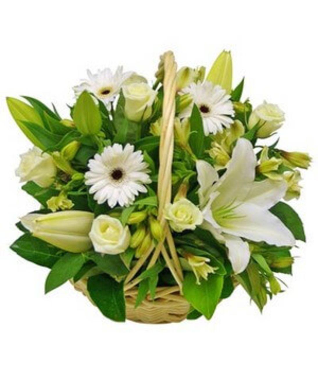 """Квіти в кошику """"Біле хмара"""". Superflowers.com.ua"""