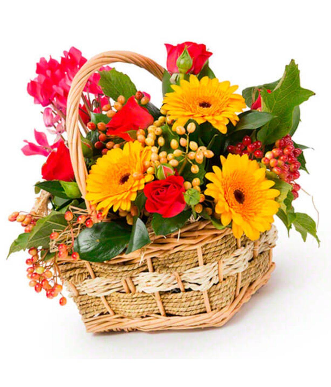 """Квіти в кошику """"Яскрава казка"""". Superflowers.com.ua"""