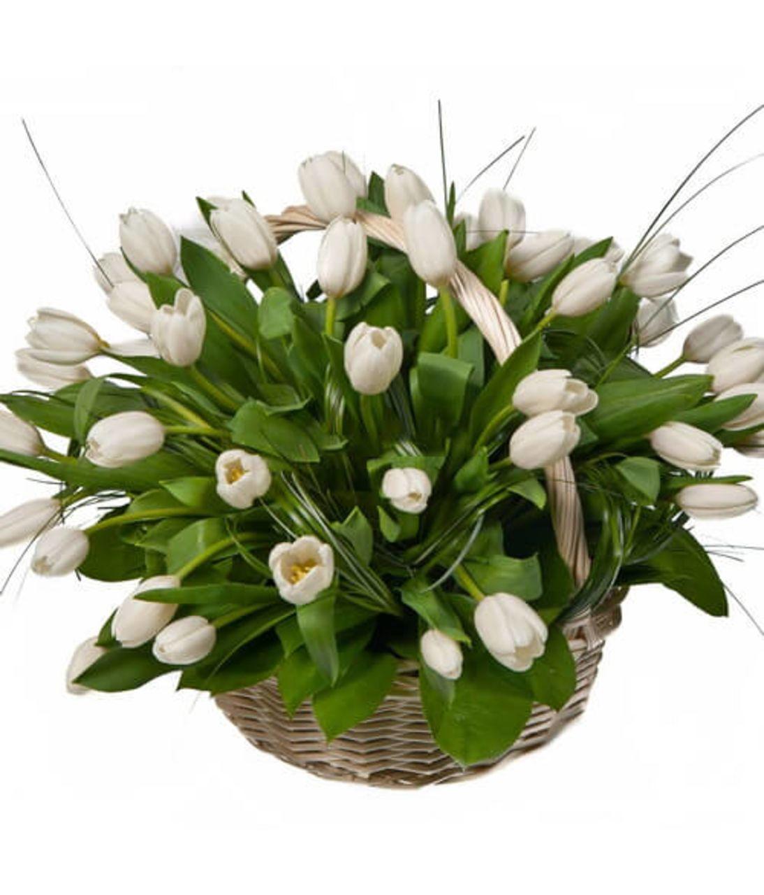"Корзина белых тюльпанов ""Белое облако"". Superflowers.com.ua"