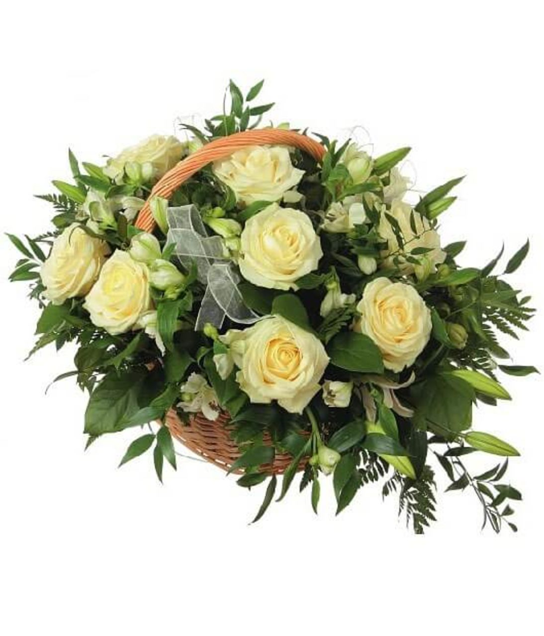 "Корзина из роз ""Белая ночь"". Superflowers.com.ua"