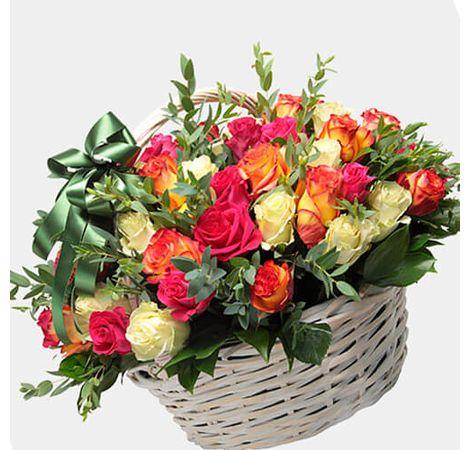 """Корзина из роз """"Марлен"""". Superflowers.com.ua"""