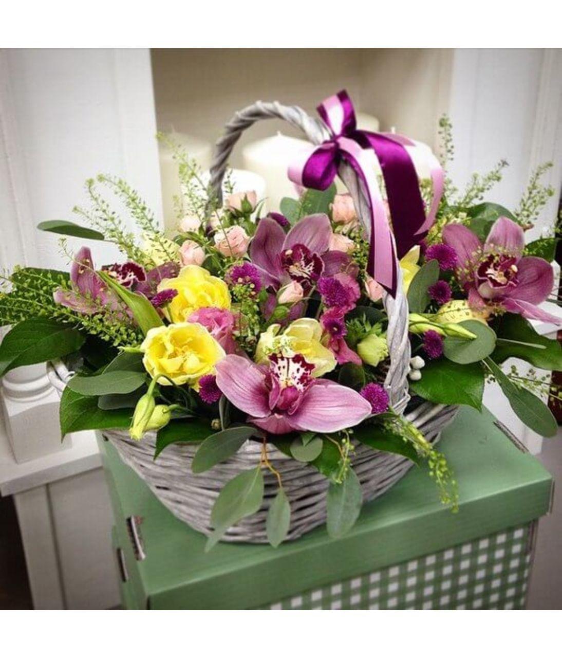 """Корзина с орхидеями """"Нимфея"""". Superflowers.com.ua"""