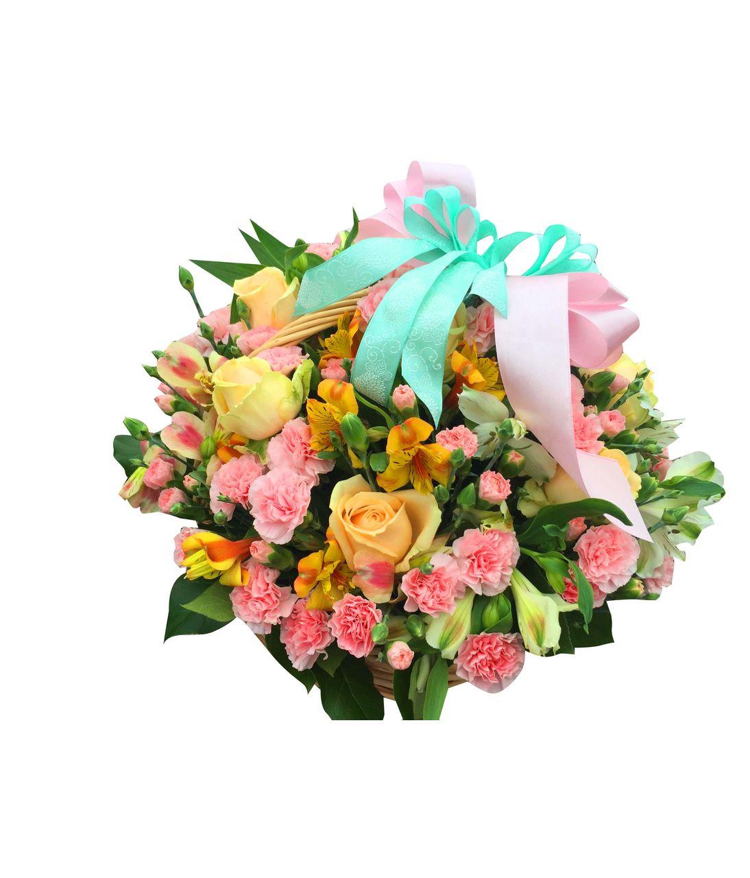 """Кошик з квітами """"Сонячна Фея"""". Superflowers.com.ua"""