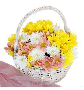 """Летняя корзина цветов """"Солнце в охапке"""""""