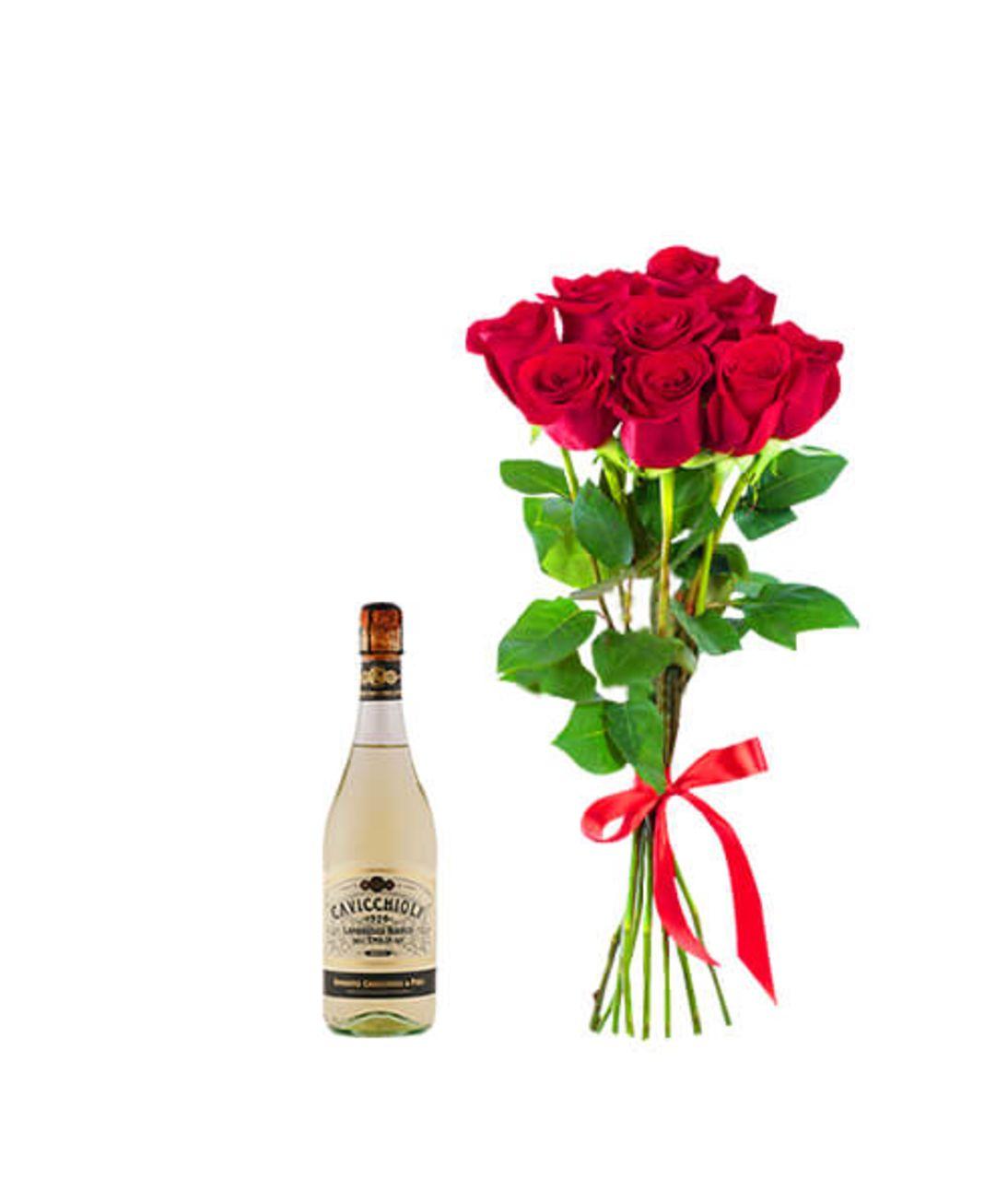 """Букет бархатных роз и шампанское """"For Love"""". Superflowers.com.ua. Заказать букет роз с шампанским"""
