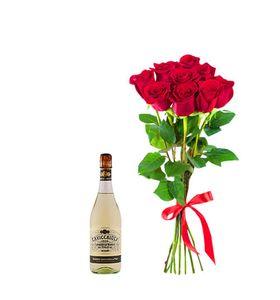"""Букет троянд 9 штук і шампанське """"For Love"""""""