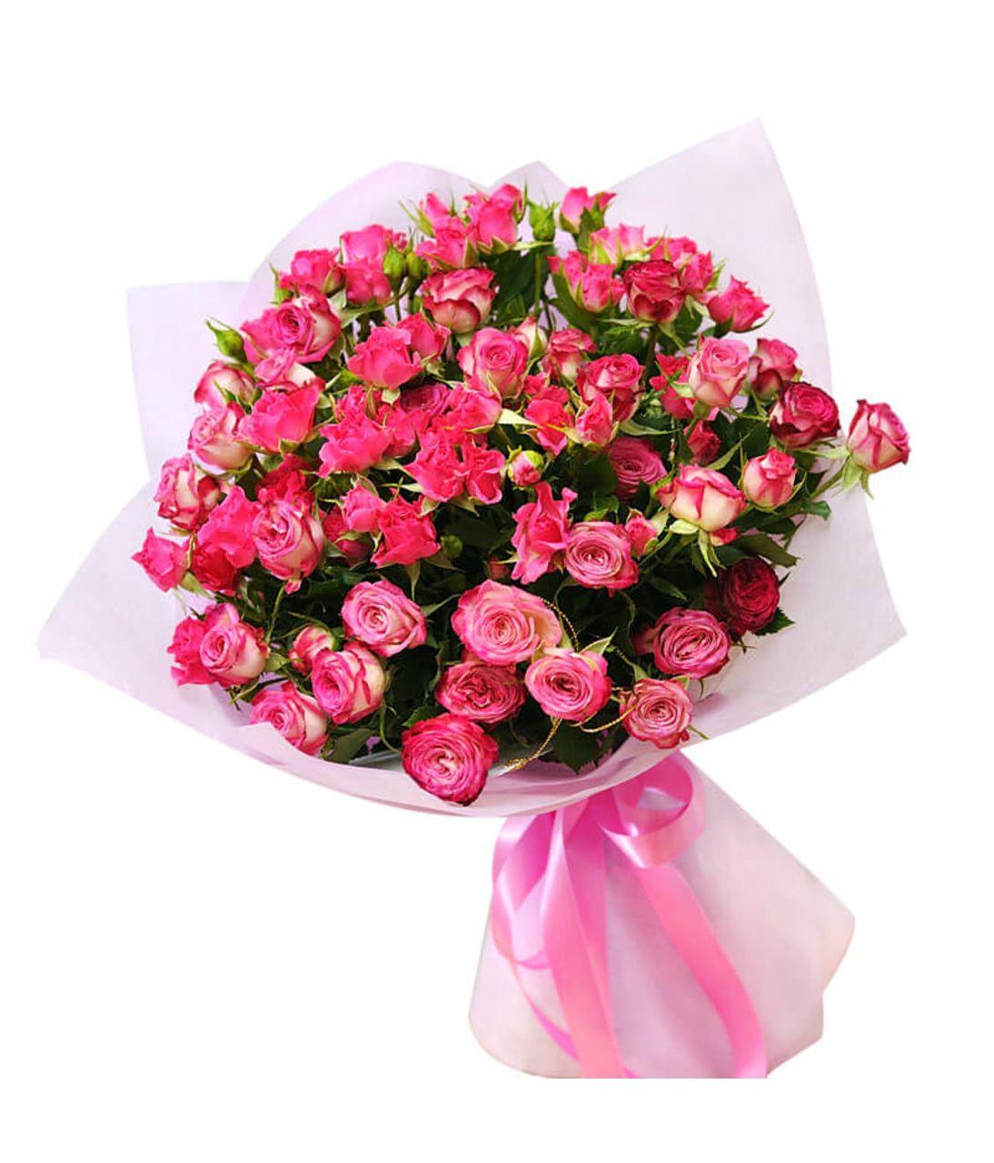Букет рожевої кущової троянди. superflowers.com.ua