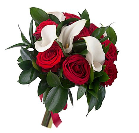 "Букет з трояндами та каллом ""Скупі"". Superflowers.com.ua"
