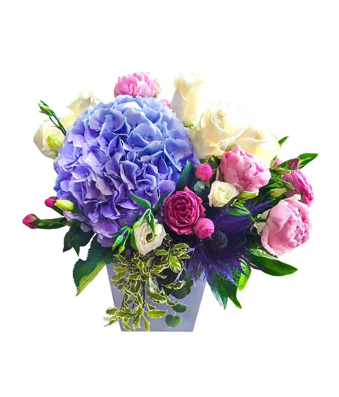 """Букет с синей Гортензией """"Праздничный"""". Superflowers.com.ua"""
