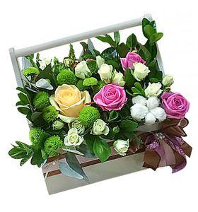 """Деревянный ящик с цветами """"Вечер в саду"""""""