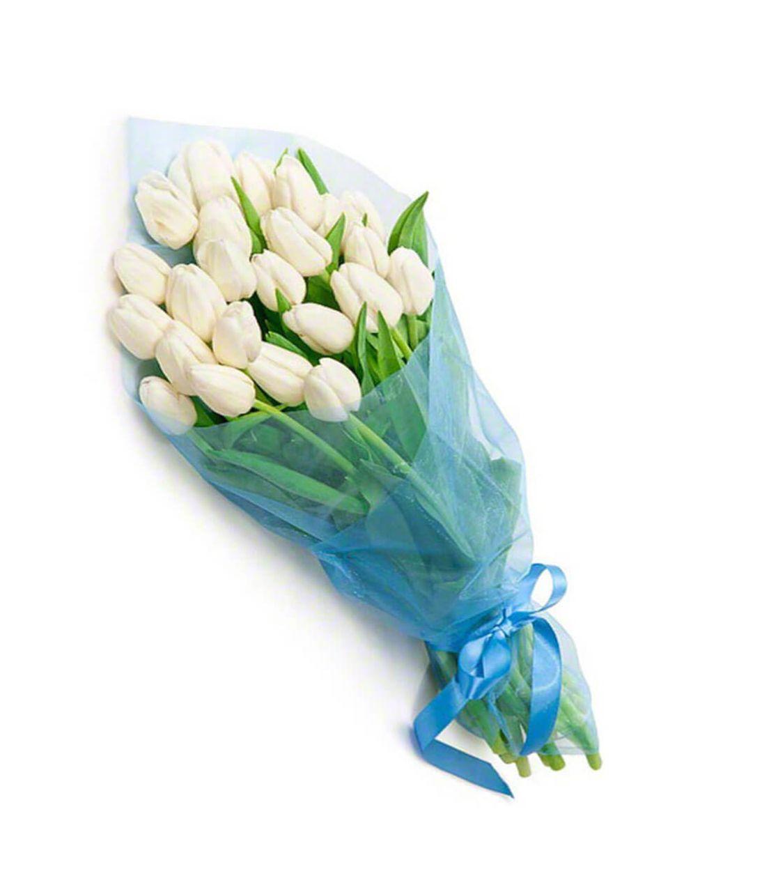 "29 белых тюльпанов ""Тайна"". Superflowers.com.ua"